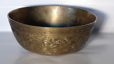 ANTIQUE CHINESE BRASS ENGRAVED BOWL WITH A DRAGON AND PHOENIX,MARKED