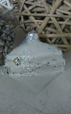 NUEVO Bola de Navidad Blanco Plata Nostalgia para árbol Estrella Shabby