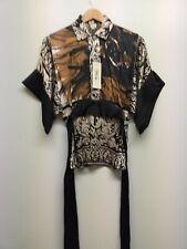 FERRE Womens Black tie back  Blouse Shirt Top 100% Silk RRP £300 Size 42 uk8NEW