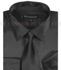 Men's Fashion Quality satin dress shirt with tie & handkerchief Milano Moda SG08