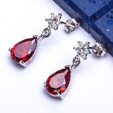 """BEAUTIFUL Garnet & CZ Dangle Drop .925 Sterling Silver Earrings .75"""""""