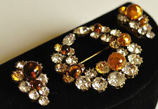 Vintage Christian Dior by Kramer Brooch Pin Earrings Set~Amber Glass Crystal RS