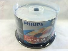 100 Philips Logo Blank DVD+R DVDR Dual Double Layer DL Disc Media 8.5GB Cake Box