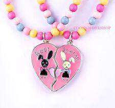 Best Friends BFF Perlen Hase Bunny Herz 2 in 1 Anhänger Mädchen Halskette Geschenk