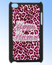 IPOD TOUCH 4 PINK LEOPARD PRINT PERSONALISED  REAR COVER / CASE - GIFT & NAMED