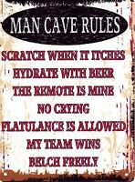 MAN CAVE RULES METAL SIGN RETRO VINTAGE STYLE SMALL