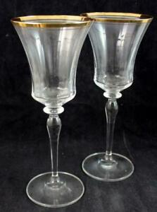Mikasa Crystal JAMESTOWN Gold Trim 2 Goblets T2703 GREAT CONDITION
