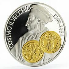 Netherlands Antilles 10 gulden Cosimo de Medici gilded proof silver coin 2001