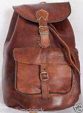 079 grandi stile vintage Real Genuine Leather Borsa Zaino Zaino Marrone