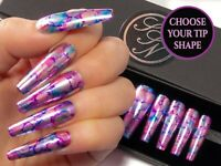 Chrome Marble Coffin Press On Fake False Glue Stick On Gel Nail Art Nails