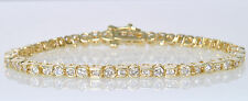 Ladies 14k Yellow Gold 3 Cttw Half Bezel Set Diamond Line Tennis Estate Bracelet