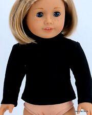 "Black Solid Long Sleeve Doll T-Shirt w/ Ruffles fit 18"" American Girl Doll"