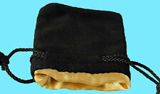 "BLACK VELVET & LUXURY SATIN GOLD Lining DICE BAG SMALL 3.5""x4"" Silk Pouch Koplow"