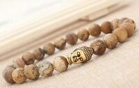 Men's Fashion Natural Picture Jasper Gold Buddha Lucky Energy Bracelet 8mm Bead