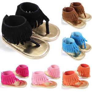 Toddler Baby Girl Tassel Shoes Newborn Soft Cirb Sole Anti-slip Sneakers Sandals