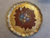 Antique Italian Florentine Ornate Gold Painted Papermache Tray Plate 28.5cm