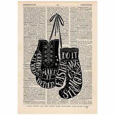 Do It Faster Boxing Glove  Dictionary Print OOAK, Art, Inspirational Quote
