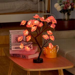 24 LED Desk Tree Lamp Night Lights Rose Flower Warm White Table Lamp Home Decor