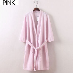 Men Women Cotton Waffle Bath Robe Suck Sweat Kimono Bathrobe Summer Nightgowns *