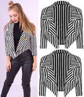 Ladies Womens Black & White Striped Cropped Waterfall Coat Casual Jacket Blazer