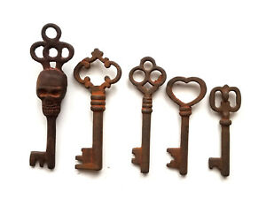 Antique Style Iron Skeleton Keys Lot of 5
