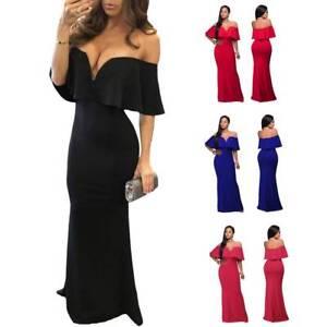 Figure Hugging V Neckline Ruffle Low Shoulder Mermaid Style Long Dress Maxi Gown