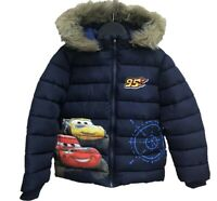 Boys Kids Children Disney Cars Fleece Lined Hooded Padded Winter Jacket 3-8Years