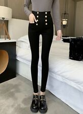 Black gold button stretch bandage bodycon pants trousers jeggings leggings chic
