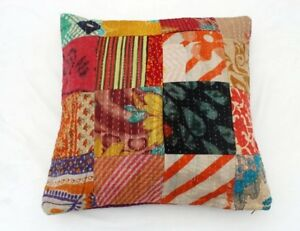 Indian Handmade Cotton Kantha Patch Work Ethnic Decorative Cushion Cover KC-42