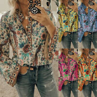 ❤️Womens Floral Print Long Sleeve Blouse Ladies V Neck Loose Casual T-Shirt Tops