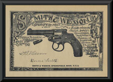 1880s Smith & Wesson Advertisement Reprint On 100 Year Old Paper *P109