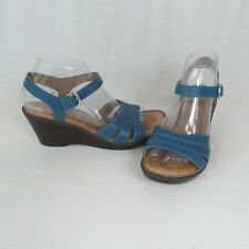 Born 8M Slate Blue Leather Wedge Sandals Buckle Ankle Strap 2.75in Heel