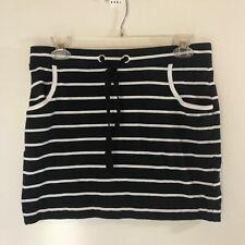 NAUTICA Size S Mini Skirt Micro Black White Stripe Cotton Knit Stretch Casual