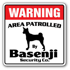 Basenji Security Decal Area Patrolled pet gift warning patrol breeding vet dog