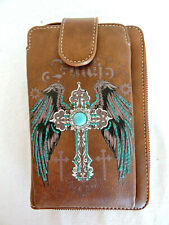 FAITH with Wings and Cross Brown Cell Phone Wallet/Crossbody Montana West