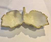 Lenox Double Leaf Serving Bowl Ivory with 24K Gold Trim Candy Nuts Tidbit Dish