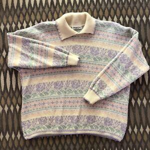 Vintage Pink Sweater Arielle New York Pink Sparkly Metallic M L
