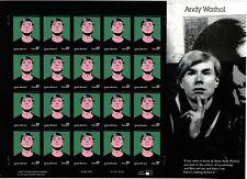 2002 37c Andy Warhol, Artist, Sheet of 20 Scott 3652 Mint F/VF NH