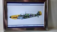 W.W.2 MILITARY AIRPLANE GERMAN MESSERSCHMITT Bf-109 1940 PRINT A4 FRAMED