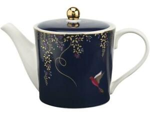 Portmeirion Sara Miller teapot 1 pint navy blue bird design, 0.5L
