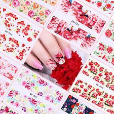48 Patterns Flower Nail Art Water Decals Rose Sakura Butterfly Transfer Sticker