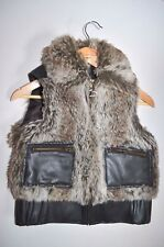 ROBERTO CELLI,Brown replica fur leather GILLET COAT S size 10 12 urban outfitter