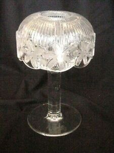 FAIRY LAMP TWO PART HURRICANE DOME CRYSTAL LEAD CLEAR GLASS FLOWER BAND TOP