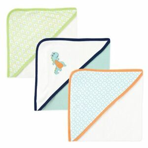 Luvable Friends Hooded Towels, 3-Pack, Dino