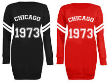 Womens Ladies Fashion Chicago 1973 Athletic Varsity Long Jumper Mini Dress 8-20