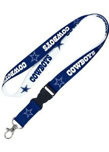 "Dallas Cowboys 22"" Detachable Team Logo Colors Quality Lanyard Keychain NFL NWT"
