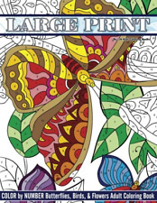 Large Print Color By Number Butterflies, Birds, and Flowers Adult Coloring Book