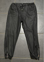 Topshop Black PU Faux Artificial Leather Joggers Cuffed Trousers 10/12 Mid Rise