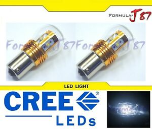 LED Light 25W 1156 White 5000K Two Bulbs Rear Turn Signal Replacement Stock JDM