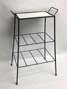 Vintage METAL 3 Tier SIDE TABLE PLANT STAND MCM 1950's Black Wire Small
